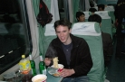 Enjoying noodles and beer