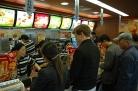 Buying a spicy chicken burger at McDonalds, Yangzhou